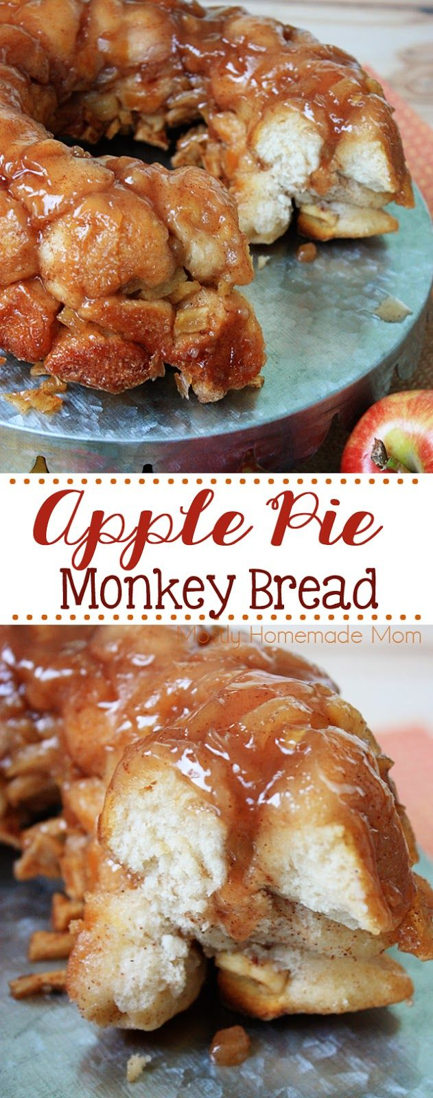 Apple Pie Monkey Bread - so gooey and sweet! Refrigerated biscuits tossed with sugar, cinnamon, and chopped apples make this a perfect fall brunch or dessert recipe!