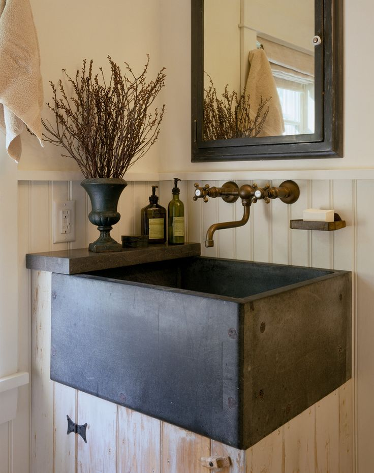 Beautiful slop sink in Bathroom Farmhouse with Grilling Porch next to Soapstone Sink alongside Painted Beadboard