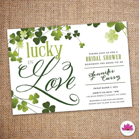 Lucky In Love Bridal Shower Invitation Digital By Eventswithgrace