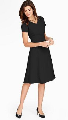 Short-Sleeve Work Dress: Talbots Refined Crepe Dress