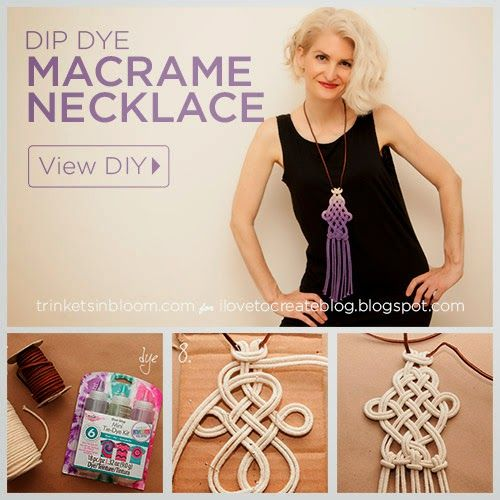 iLoveToCreate Blog: DIY Dip Dye Macramé Necklace