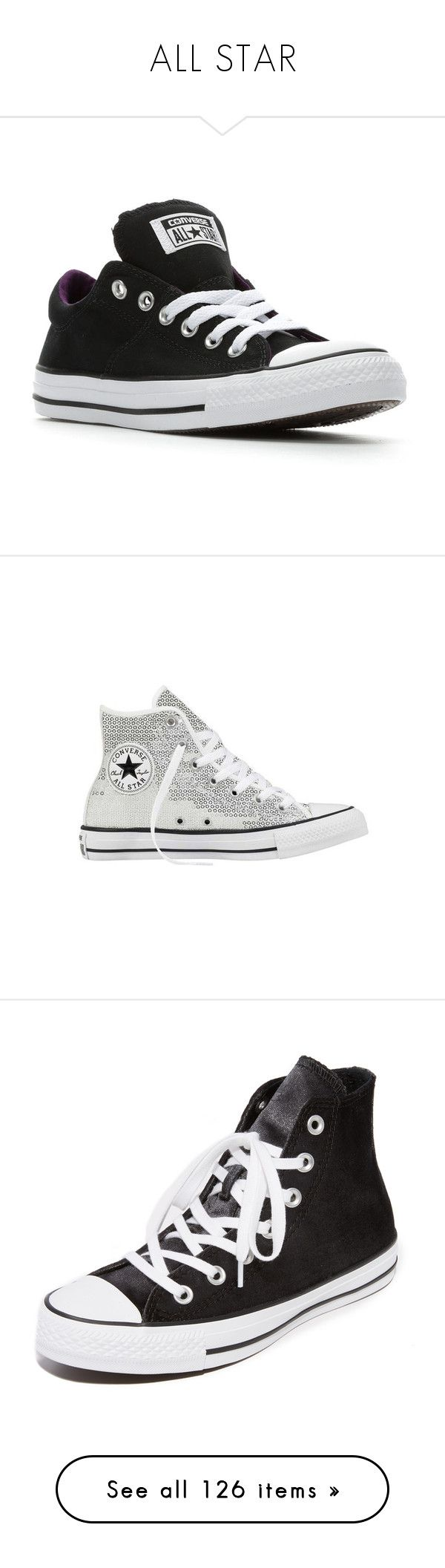 """ALL STAR"" by missk2blue ❤ liked on Polyvore featuring shoes, sneakers, converse shoes, converse trainers, converse footwear, converse sneakers, converse, casual, black high top shoes and converse high tops"