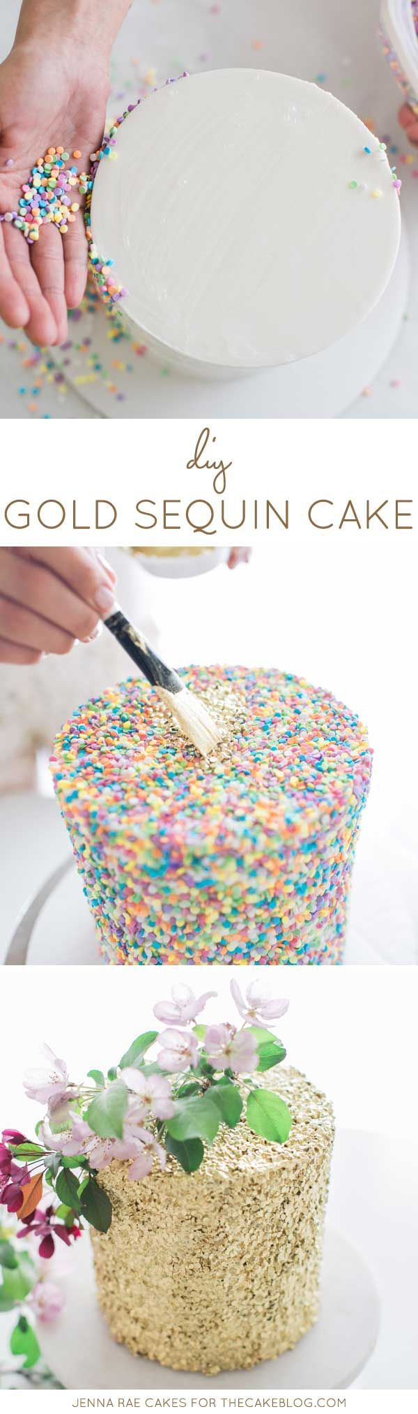 How to make a Gold Sequin Cake.  Display on a cake stand and gold sequin table runner from Afloral.com.  Find high-quality silk flowers to decorate your cake, and more, at http://www.afloral.com/