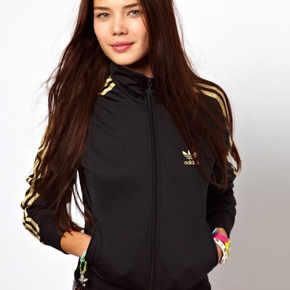 Adidas Jacket Adidas firebird in Gold & Black. Worn once in perfect condition. Adidas Jackets & Coats