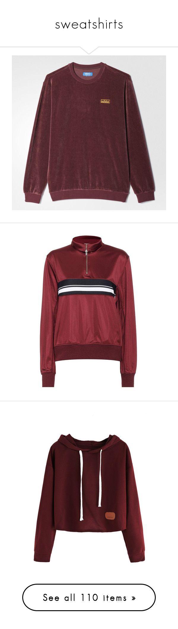 """sweatshirts"" by harthkai on Polyvore featuring tops, hoodies, sweatshirts, sueteres, adidas sweatshirt, red sweatshirt, velour top, brown top, red top and sweaters"