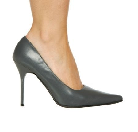 The Highest Heel Shoes Classic Grey Matte grey court shoes with pointed toe and front flat sole contrasted by the sexy, extra thin 4 inch (10 cm) high stiletto heels in matching colour. Classic and easy to wear, these shoes are a great  http://www.MightGet.com/january-2017-12/the-highest-heel-shoes-classic-grey.asp