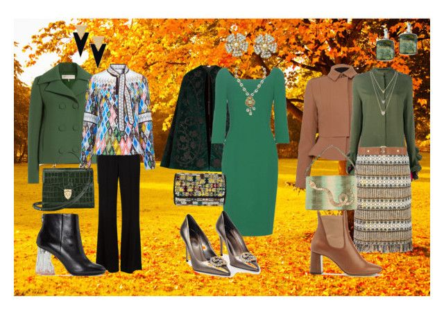 Autumn in green by yasmina33 on Polyvore featuring Dolce&Gabbana, Haider Ackermann, Peter Pilotto, Talitha, Emilio Pucci, Burberry, A.L.C., Tory Burch, Acne Studios and Chloé