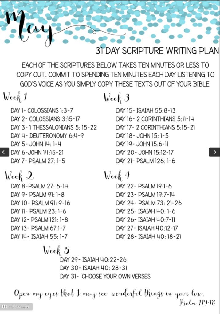 May 30-Day Scripture Writing Plan