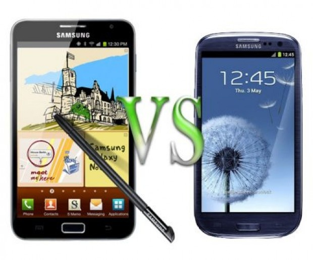 The Galaxy S3 displaced the Galaxy Note as the top dog smartphone at Samsung but there's more than meets the eye.The S3 can only accommodate microSIM cards,possibly as a way to ease the way for users wanting to move away from the iPhone.The Note also features a S Pen Stylus,allowing it to be used like a tablet.When it comes to size,the Galaxy Note has is 40 per cent bigger than its sibling.The Note also has a much longer talktime at 810 minutes on 3G compared to 620 minutes for the S3.