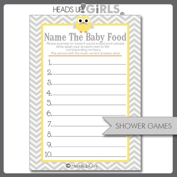 digital printable yellow and gray mustache owl guess the baby food games for baby showers on