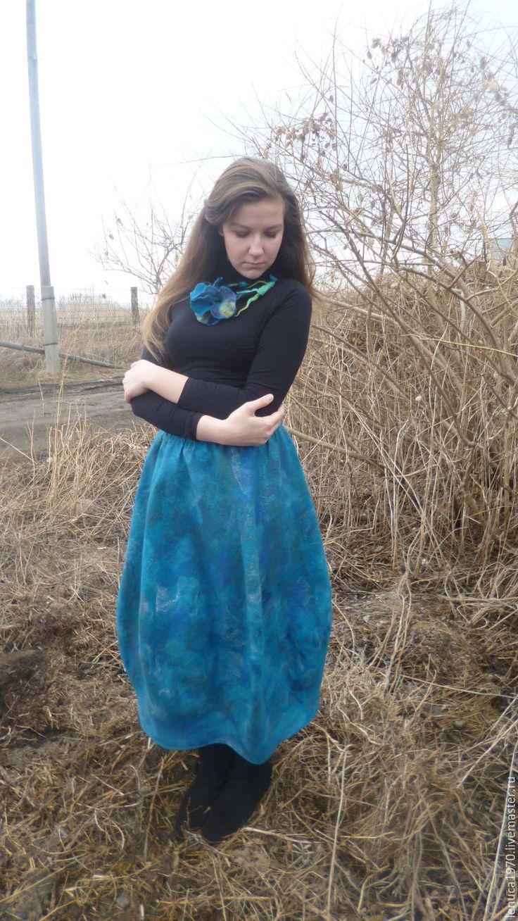 Купить Валяная юбка балон Морские глубины - тёмно-бирюзовый, валяная юбка, длинная юбка