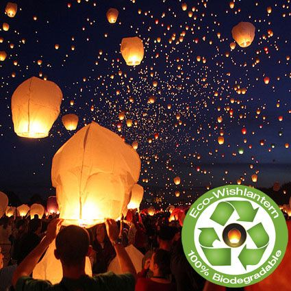 WISH LANTERN: the first supplier in the USA to sell a 100% biodegradable wish lantern: thin bamboo frame, rice paper,  woollen fire proof fuel cell cover.