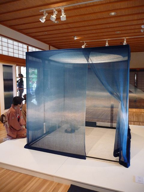 "Gorgeous portable teahouse from the ""Indigo Is the Color of My Dreams"" exhibit by Shihoko FUKUMOTO 