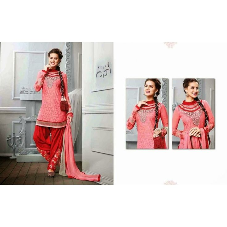 Patiala style semi-stitched Salwar suit of kurta Salmon color and salwar of Red color