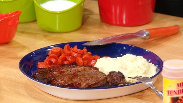 Dr. Ian Smith's Sweet Barbeque Steaks with Honey Glazed Carrots and Buttery Mashed Potatoes