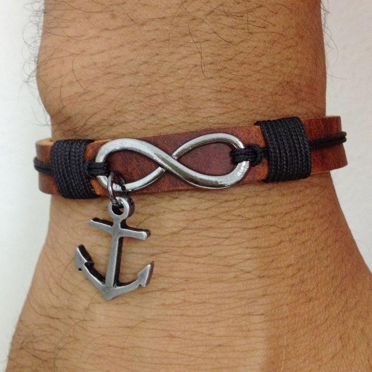 Pulseira masculina couro símbolo do infinito Âncora bracelet man men's fashion