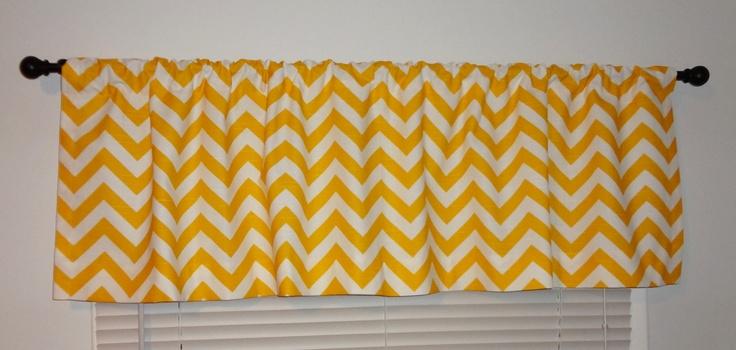 Curtain Valance Topper Window Treatment 52x15 Yellow & White Zig Zag Chevron Valance.