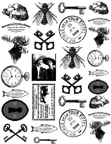 28 Sepia Fusible Decals For Glass and Ceramics Vintage Oddities 12.12A