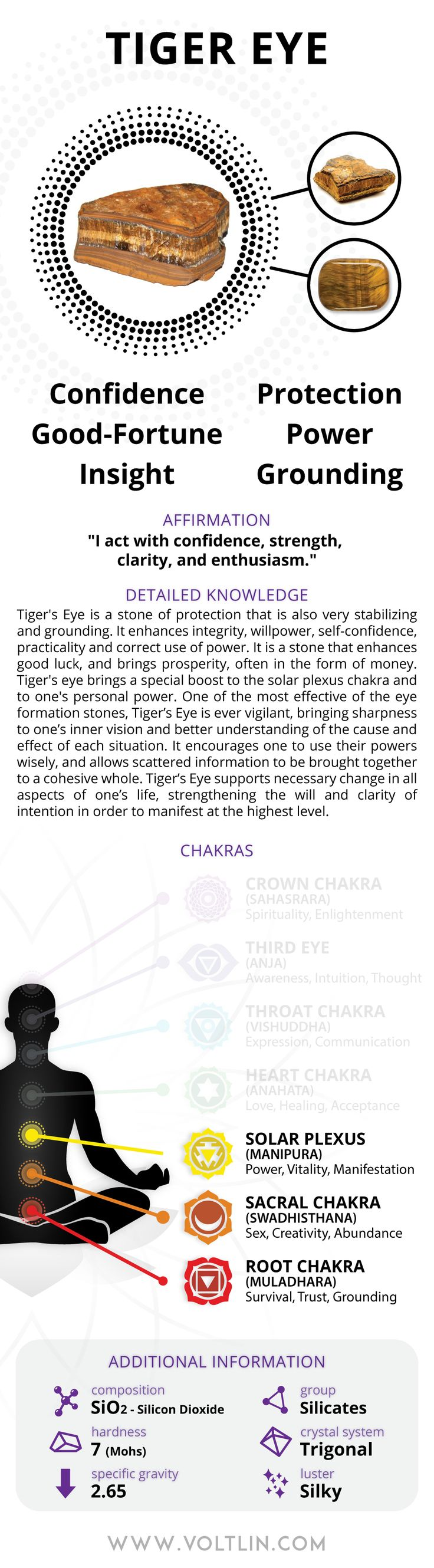 Description Tiger's Eye is a stone of protection that is also very stabilizing and grounding. It enhances integrity, willpower, self-confidence, practicality and correct use of power. It is a stone th