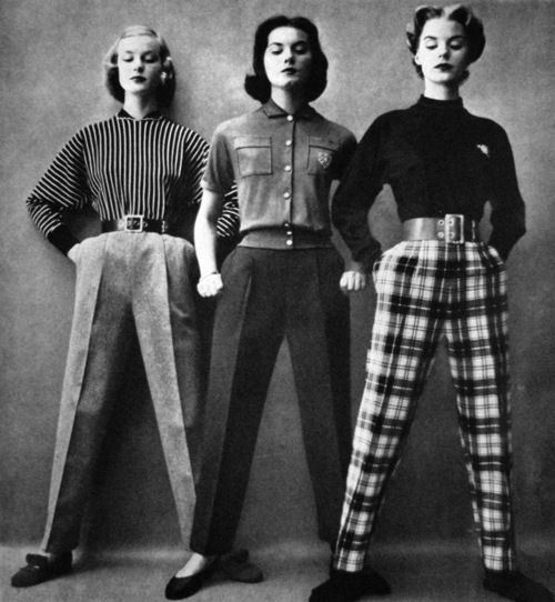 Models in pants for Vogue US, 1951.