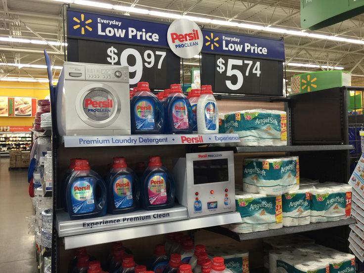 Persil in-store theatre on aisle end.  Walmart, March 2015.