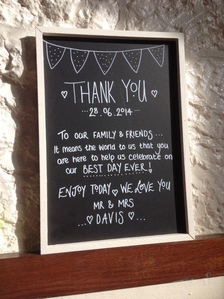 Village hall wedding, vintage wedding, thank you, chalk sign.
