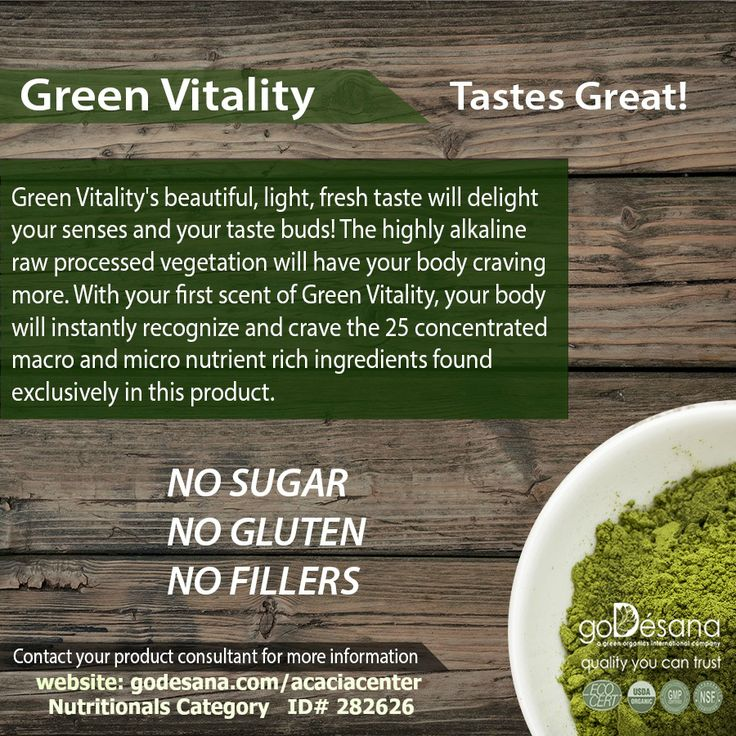 GREEN VITALITY from goDesana http://godesana.com/greenvitality180.asp?sponsorsite=acaciacenter Green Vitality's beautiful, light, fresh taste will delight your senses and your taste buds! The highly alkaline raw processed vegetation will have your body craving more. With your first scent of Green Vitality, your body will instantly recognize and crave the 25 concentrated macro and micro nutrient rich ingredients found exclusively in this product. $45.00
