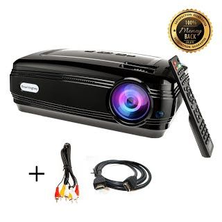 """Features & Benefits"" HD projector, Sourcingbay BY58 1080P 3200 Luminous Efficiency LED Projectors Home Cinema Theater for Outdoor Indoor Movie Night, Support Xbox VGA USB Speaker HDMI Laptops Tablets Smartphones Games"