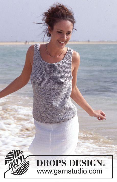 DROPS jakke med retstrik på bærestykket i Cotton Viscose og Silke-Tweed Gratis opskrifter fra DROPS Design.