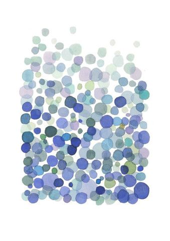 Bubbles blue dots - print giclee  watercolor painting - ultramarine sky blue white air Netherlands indigo