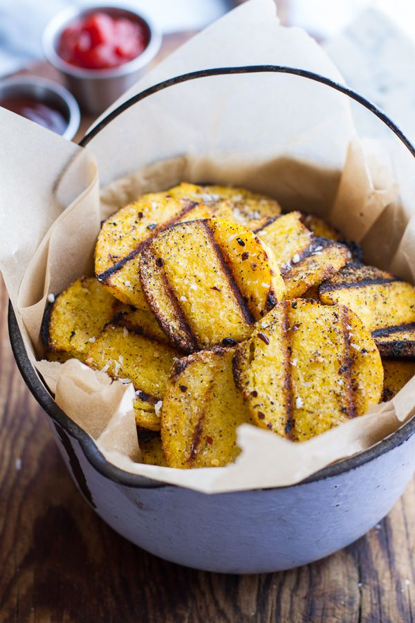 Grilled Parmesan Polenta Chips. Took about 15 minutes per batch in my little Foreman Grill. And don't overdo the salt.
