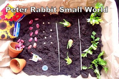 Peter Rabbit Small World Guest post via Make, Do & Friend. Adorable play activity for little ones to go along with The Tale of Peter Rabbit.