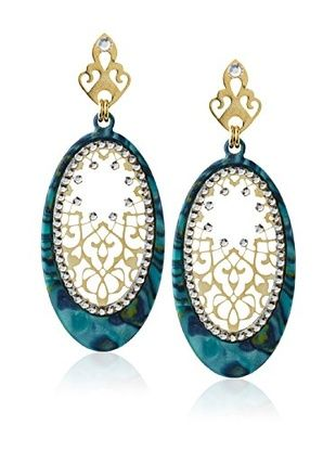 60% OFF LK Designs Turquoise Mixed Ellipse Earrings