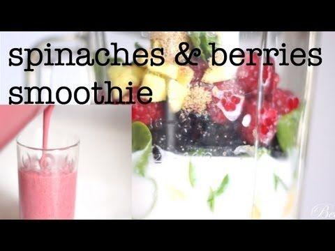 Healthy spinaches & berries smoothie recipe - Ricetta frullato spinaci e frutti di bosco