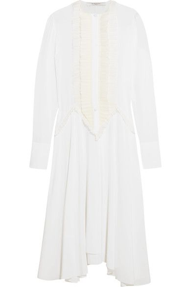 Givenchy - Ruffled Midi Dress In White Silk Crepe De Chine - FR38