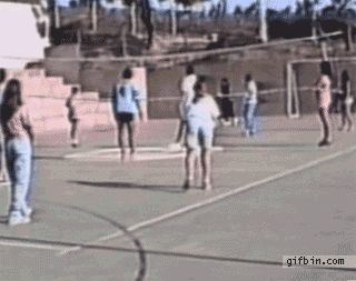 Girl playing volleyball fail