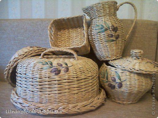 Поделка изделие Плетение Набор для кухни Бумага газетная Трубочки бумажные фото 1