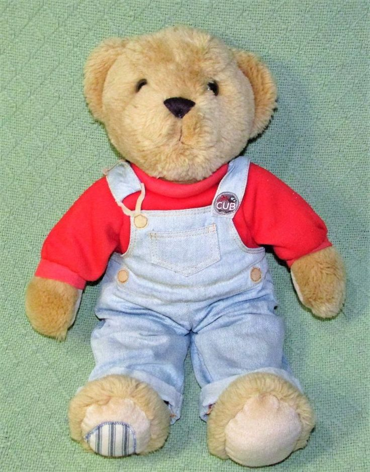 Dex LITTLE CUB COLA Plush Stuffed Teddy Bear ONLY Tan Denim Overalls Replacement #Dex