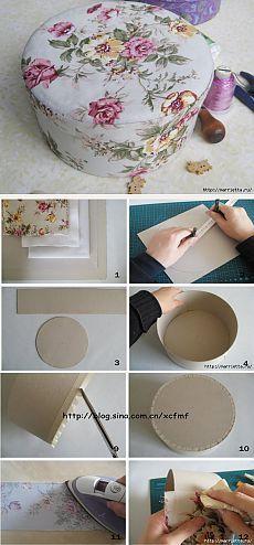 Круглая шкатулка из ткани и картона своими руками.