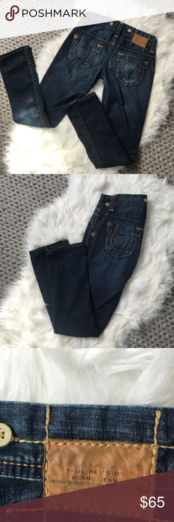 "{True Religion} Straight Leg Denim Jeans- like new {True Religion} Straight Leg Denim Jeans- like new. No fraying at bottom hem. Excellent condition. Non smoking home. Inseam: 30"" Waist: Size 24 True Religion Jeans Straight Leg"
