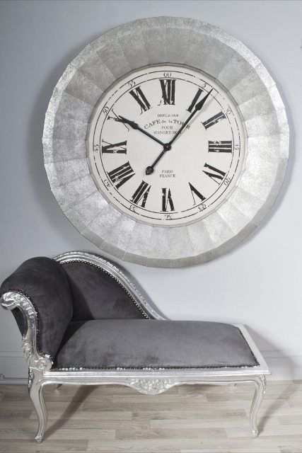 "This extra large silver ""Cafe de la Tour"" 110cm wall clock is a gorgeous, gigantic ""Cafe De La Tour"" wall clock with a silver metal frame"