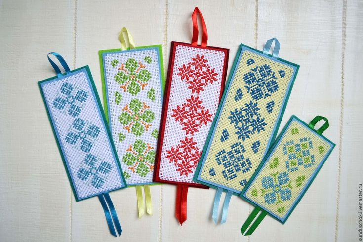Купить Закладки для книг, вышитые крестиком (5 видов) - закладка для книги, закладка, закладка вышитая