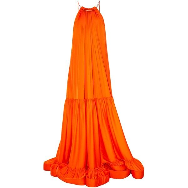 Stella McCartney Halterneck ruched-panels satin maxi dress (644.970 HUF) ❤ liked on Polyvore featuring dresses, gown, long dresses, maxi dress, orange, long maxi dresses, halter tops, long satin dress and maxi dresses