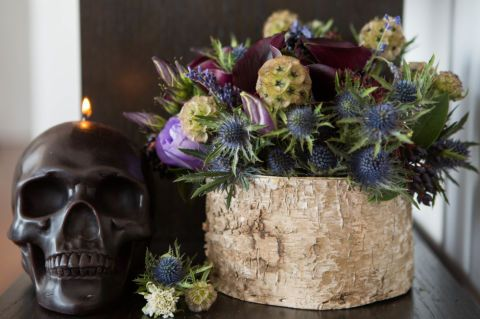 Darker flower arrangement with texture for a more masculine feel or great for Halloween: