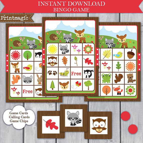 Woodland Forest Animal Bingo Printable Party Game  by printmagic