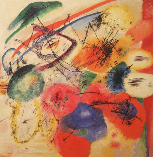 Painter Wassily Kandinsky. Painting. Black Lines I. 1913 year
