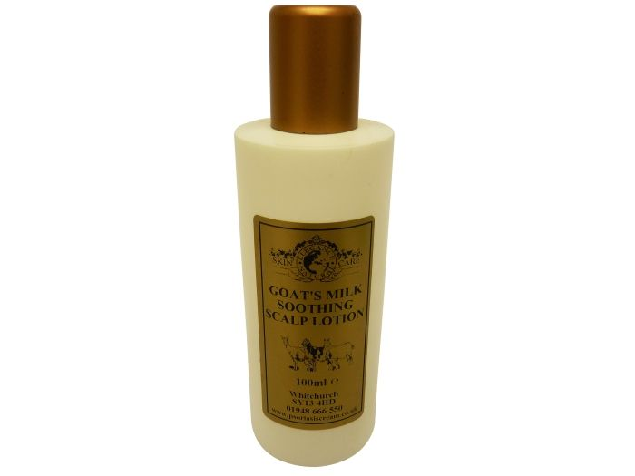 Goat's Milk Soothing Scalp Lotion 100ml This new addition to the Goat's Milk range has been formuated as we know that having dry sensitive skin often means that your head and scalp are also effected too. This product has been specifically designed to help reduce the effects of Eczema, Psoriasis and dry flaky scalp. It has a PH balance which is close to that of your skin and does NOT contain lanolin, steroids or harsh chemicals.