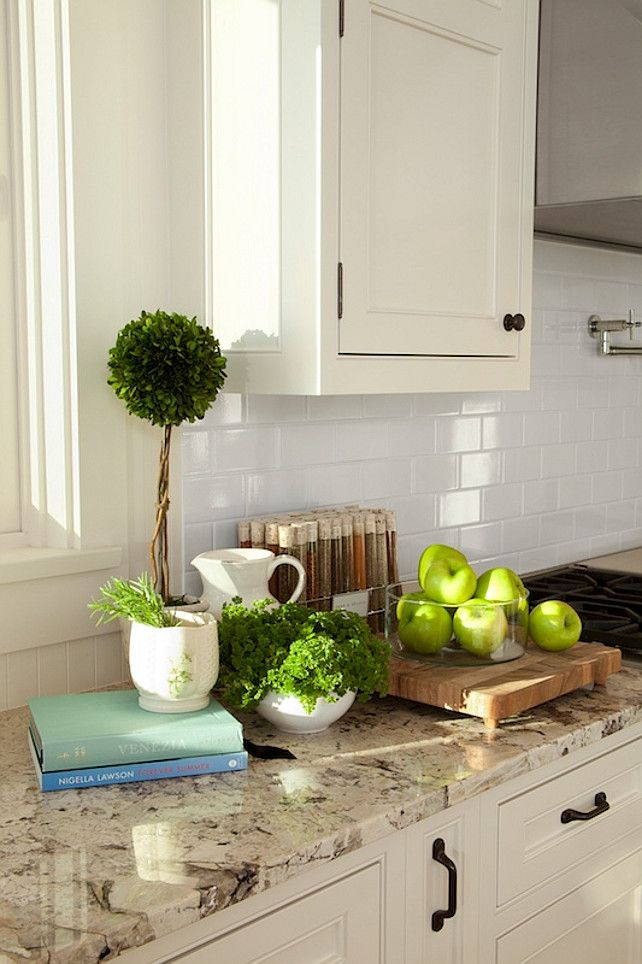 Beautiful White Glass Subway Tile Backsplash with Neutral Granite   Shop Stainless Steel Tile Inc for More Kitchen Design Ideas   www.StainlessSteelTile.com
