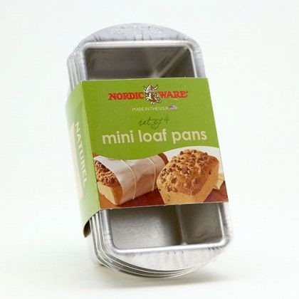 The Nordic Ware Mini Loaf Pans (set of 4) are the perfect size for gift-giving. Made of pure aluminum for rust-free durability, the Nordic Ware Mini Loaf Pans offer even baking due to the superior heat conductivity of aluminum, with the added benefit of a reinforced encapsulated steel rim which prevents warping. These 2 cup mini loaf pans nest for neat and easy storage.