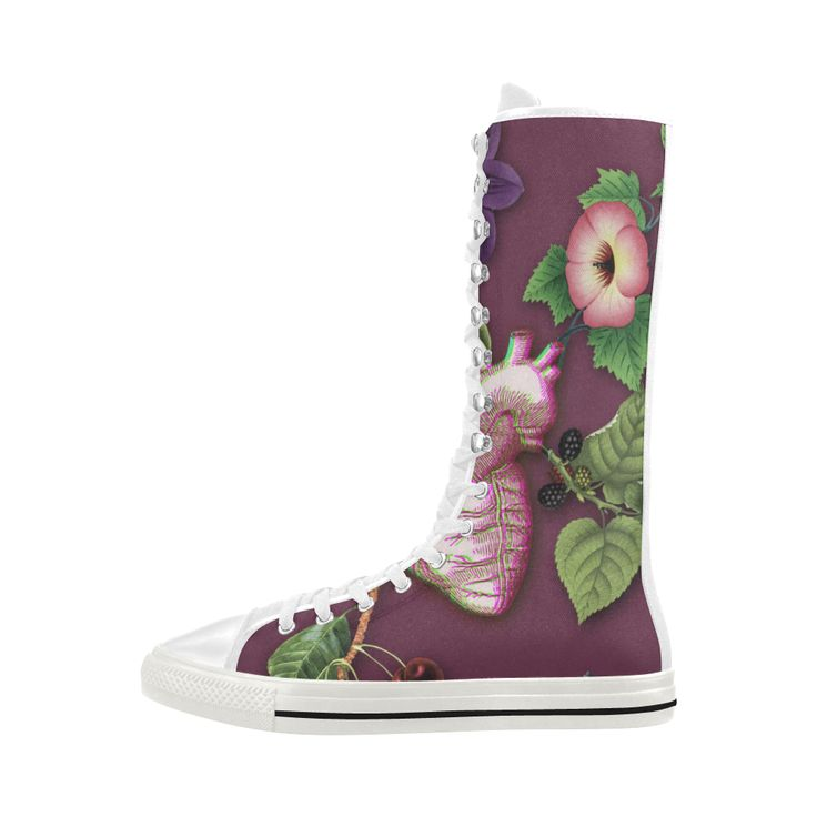 Ripened Heart Canvas Long Boots For Women Model 7013H